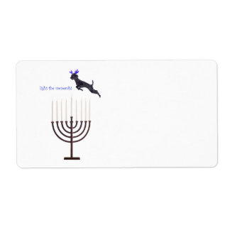 Hanukkah Menorah Black Poodle Dog Reindeer Shipping Label