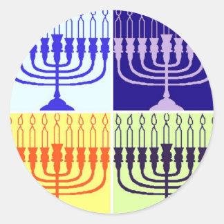 Hanukkah Menorah Classic Round Sticker