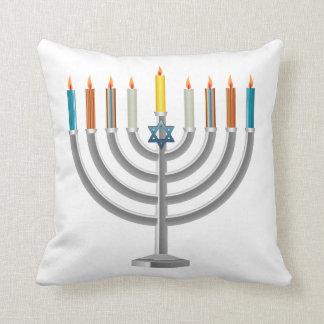 Hanukkah menorah cushion