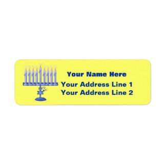 Hanukkah Menorah (customizable) Return Address Label