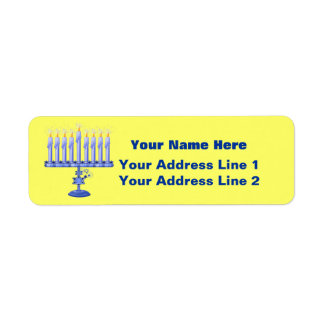 Hanukkah Menorah (customizable) Return Address Label
