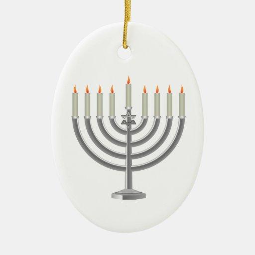 Hanukkah menorah christmas ornament