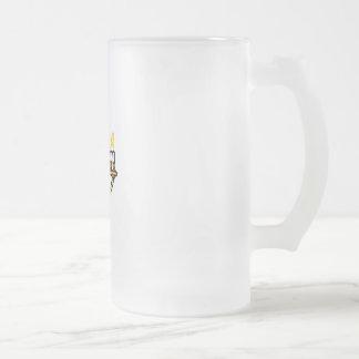 Hanukkah Menorah Frosted Glass Mug