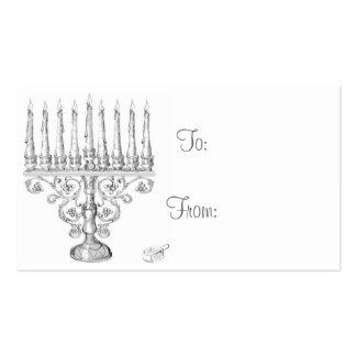 Hanukkah Menorah Gift Tags Business Card Template