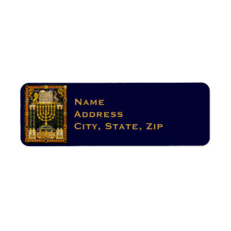 Hanukkah Menorah Return Address Label