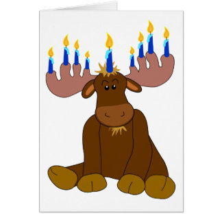 Hanukkah Menorah Moose Card