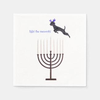 Hanukkah Menorah Poodle Dog Reindeer Candles Paper Napkin