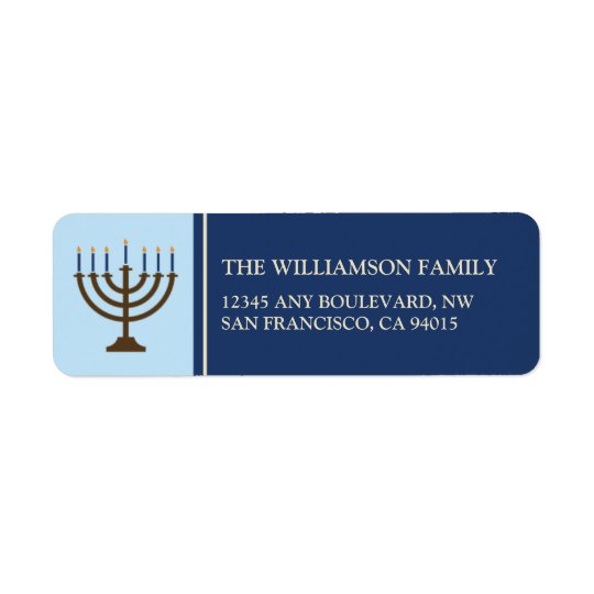 Hanukkah Menorah Return Address Labels (navy)