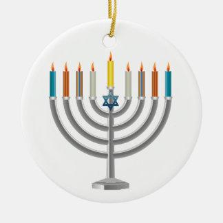 Hanukkah menorah round ceramic decoration