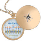 Hanukkah Menorah Shalom Customisable Name Gold Plated Necklace