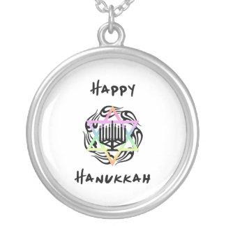 Hanukkah Menorah Silver Plated Necklace
