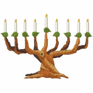Hanukkah Menorah Tree Embroidered Hooded Sweatshirts