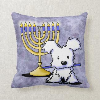 Hanukkah Menorah Westie Cushion