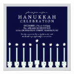Hanukkah Menorah with Candles in Polka Dot Personalized Announcements