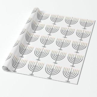 Hanukkah menorah wrapping paper