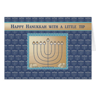 Hanukkah Money enclosed, Menorah with gold coins. Card