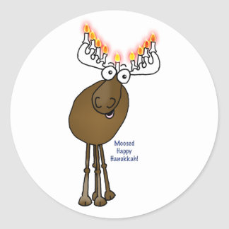 Hanukkah moose! classic round sticker