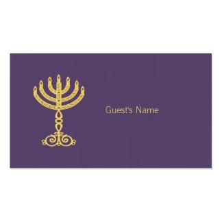 Hanukkah Motif purple Place Card Business Card Templates