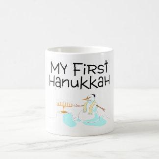 Hanukkah My First Hanukkah (Menorah Snowman) Mugs