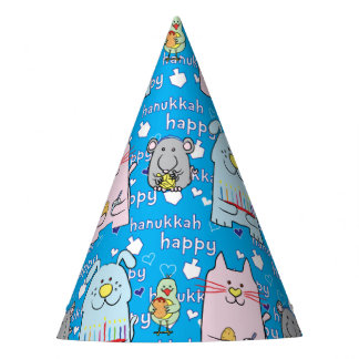 "Hanukkah Party Hat ""Dog, Cat, Mouse and Bird"""