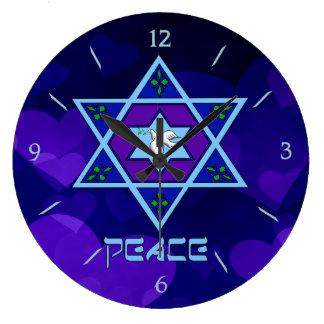 Hanukkah Peace Art Large Clock