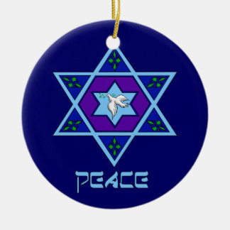 Hanukkah Peace Art Round Ceramic Decoration