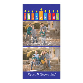 "Hanukkah Photo Card with white envelope ""Candles"""