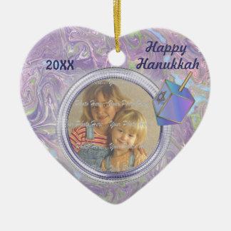 Hanukkah Photo Greetings Ceramic Heart Decoration