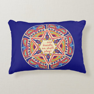 """Hanukkah Pillow """"Chanukah Paisley Dreidle Design"""""""