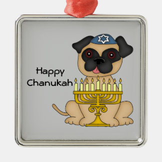 Hanukkah Pug Dog Christmas Ornament