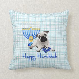 Hanukkah Pug with Menorah and Dreidels Cushion