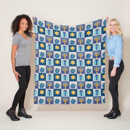 Hanukkah Quilt Look Fleece Blanket