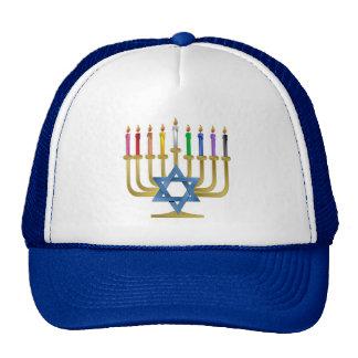 Hanukkah Rainbow Candles Gold Menorah Cap