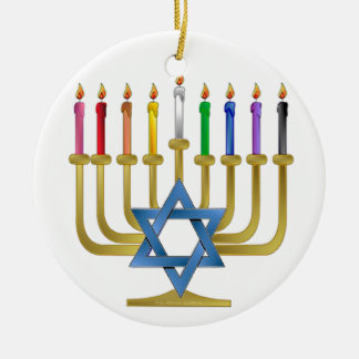 Hanukkah Rainbow Candles Gold Menorah Christmas Ornament