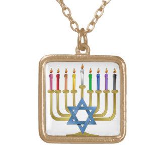 Hanukkah Rainbow Candles Gold Menorah Gold Plated Necklace