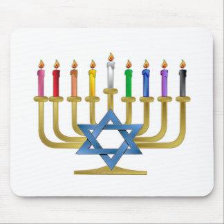 Hanukkah Rainbow Candles Gold Menorah Mousepads