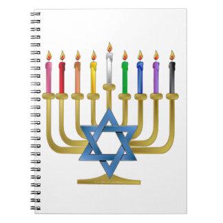 Hanukkah Rainbow Candles Gold Menorah Spiral Note Books