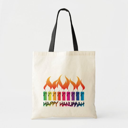 Hanukkah Rainbow Menorah Tote Bag