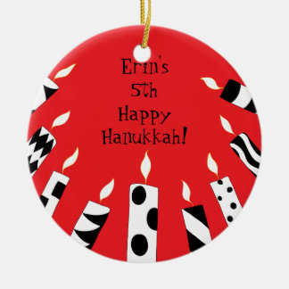 Hanukkah Red/White/Black Candles Ornament