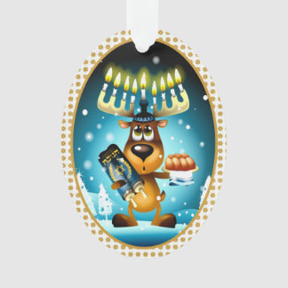 Hanukkah Reindeer Celebrates Chrismukkah Ornament