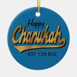 "Hanukkah ""Retro Happy Chanukah""/Circle Ornament"