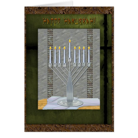 Hanukkah Rustic Art Deco MashUp (Personalised) Card