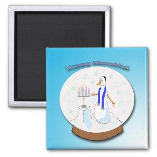 Hanukkah - Snow Globe Snowman Magnet