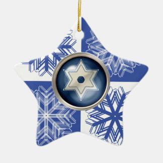 Hanukkah Snowflake Star of David Holiday Ceramic Star Decoration