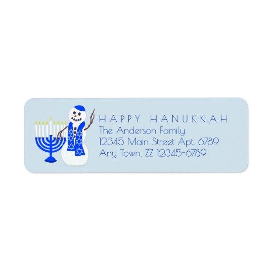 Hanukkah Snowman Chrismukkah Add Your Details Return Address Label