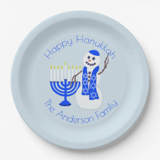 Hanukkah Snowman Chrismukkah Party Add Your Name Paper Plate