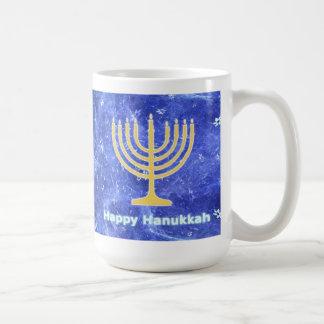 Hanukkah Snowstorm Menorah Basic White Mug