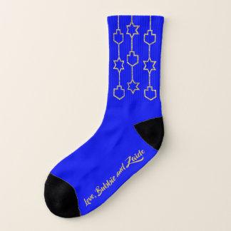 """Hanukkah Socks """"Gold Dreidel & Star Charms"""""""
