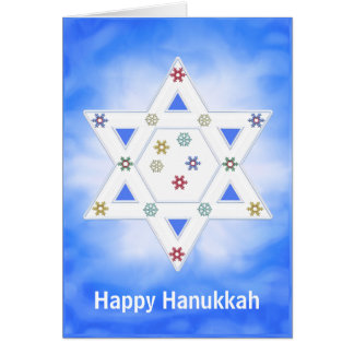 Hanukkah Star and Snowflakes Blue Greeting Card