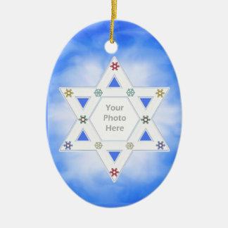 Hanukkah Star and Snowflakes Blue (photo frame) Ceramic Oval Decoration